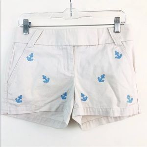 J Crew Embroidered Anchor Chino Shorts 0 New